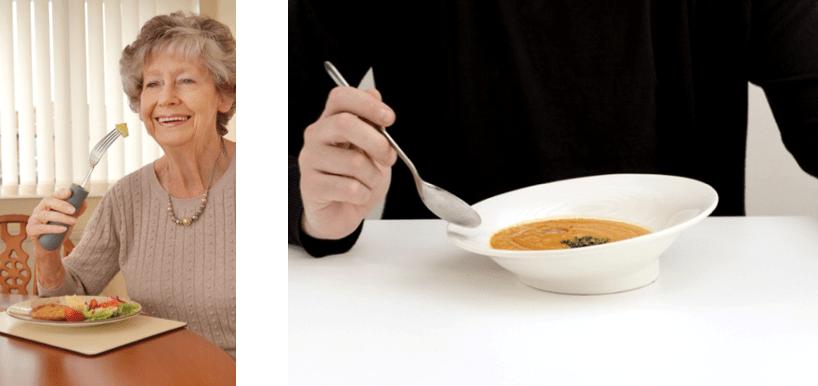hay dos fotografias donde se ve a una mujer comiendo con un cubierto adaptado