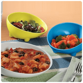 platos y tazas con borde elevado