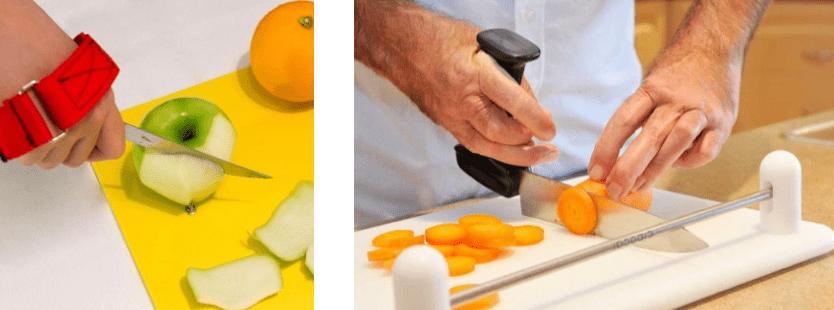tablas para cortar y cuchillos para picar