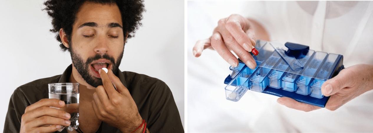 la imagen muestra un joven tomandose una pastilla y una persona abriendo un pastillero
