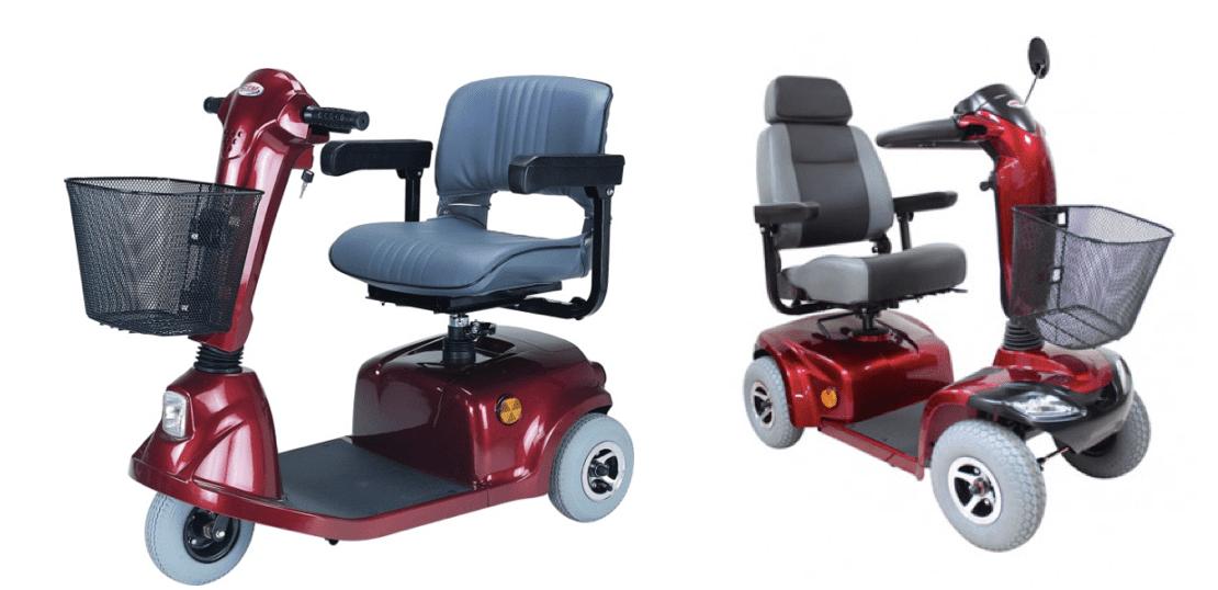 imagen de dos tipos de scooter, una de 3 ruedas y la otra de 4 ruedas