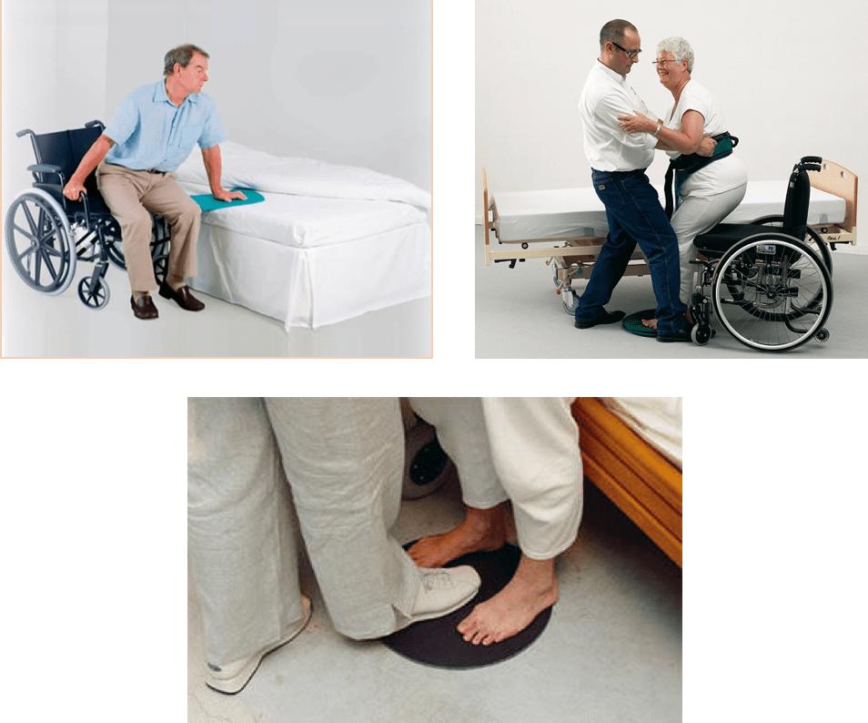 En este trio de imagenes se ve como una persona puede ayudar a una persona con discapacidad a realizar una transferencia