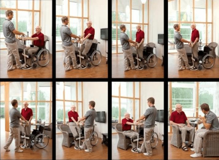 asistente ayudando a persona en silla a realizar una transferencia con el sistema turner