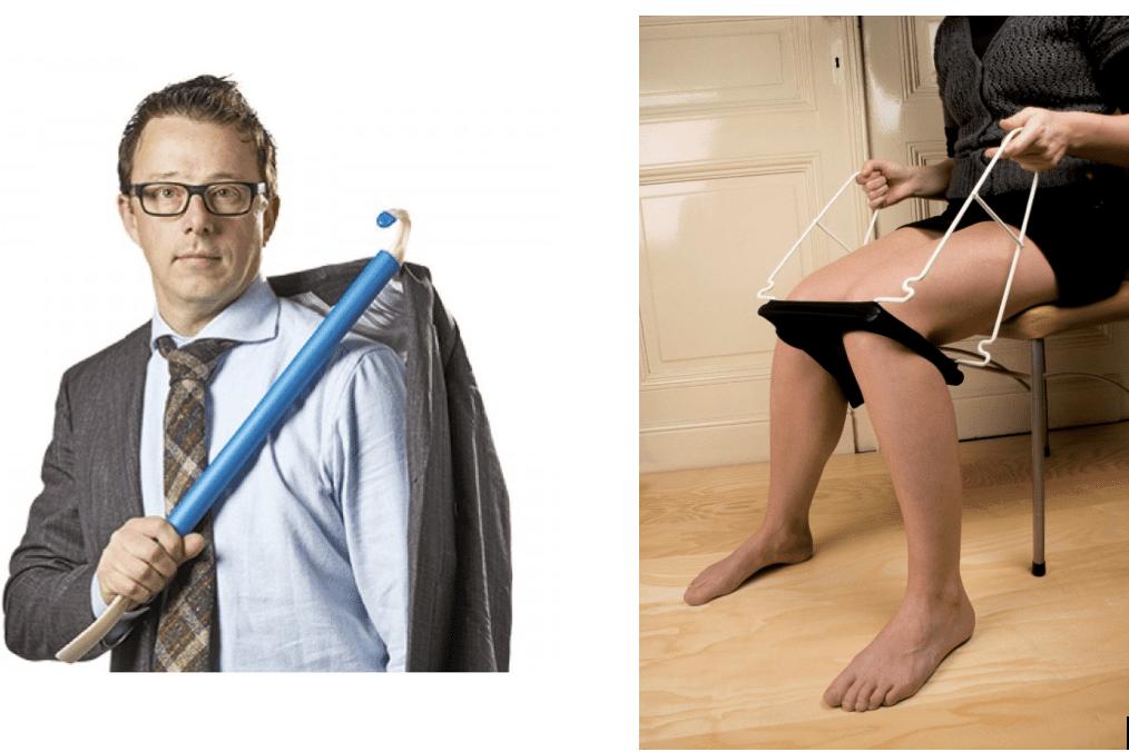 imagen de dos personas utilizando ayudas tecnicas para vestirse