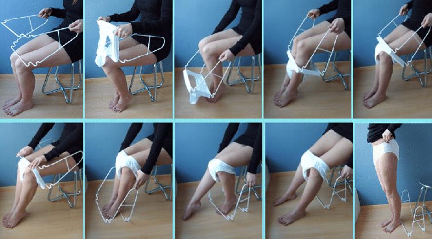 imagen donde se explica el modo de una ayuda tecnica para ponerse la ropa interior