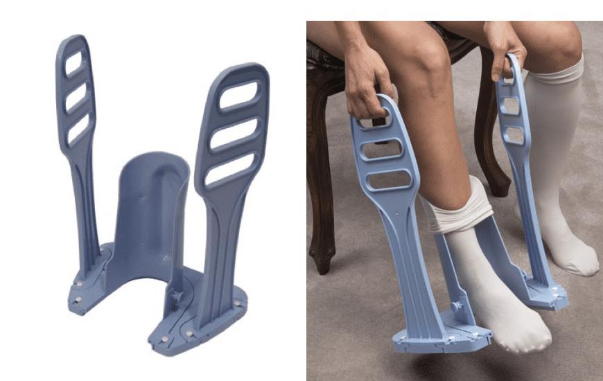 calzador de medias de compresion con guia de talon
