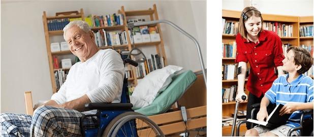 personas en sillas de ruedas